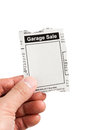 Garage sale fake classified ad newspaper concept Royalty Free Stock Images