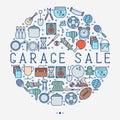Garage sale or flea market concept in circle