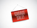 Garage sale red hanging banner illustration design over white Stock Photos