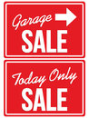 Garage Sale and Today ONLY SALE signs