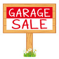 Garage sale woodboard. red cleanout vector icon signboard.