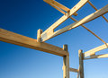 Garage truss pole building. Timber, wooden truss attachment. Construction site framing Royalty Free Stock Photo