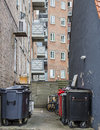 Garbage in the backyard a neighbourhood of dwelling these backyards are quite common Stock Photography