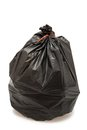 Garbage bag black isolated on white background Royalty Free Stock Images