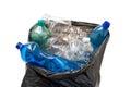 Garbage bag with plastic bottles Stock Image