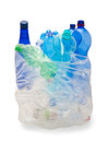 Garbage bag with plastic bottles Stock Images