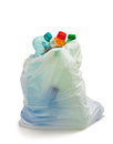 Garbage bag with plastic bottles recycling concept Royalty Free Stock Photos