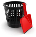 Garbage basket and dustpan clipping path included image with Stock Photos