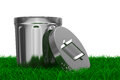 Garbage basket on grass isolated d image Stock Photo