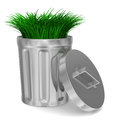 Garbage basket and grass on white background d image Stock Photo