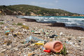 Garbage on a beach Royalty Free Stock Photo