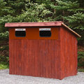 Garbage bin wooden in rural park Stock Images