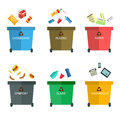 Garbage cans flat illustrations. Many with sorted . Sorting . Ecology and recycle concept. Trash on white backg