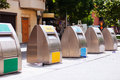 Garbage cans for separation of rubbish at city street Royalty Free Stock Image