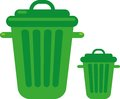 Garbage cans vector illustration of the green Royalty Free Stock Images
