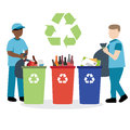Garbage collector recycling waste