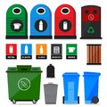 Garbage containers litter trash and bins icons and signs of recycling products and types Stock Photo