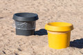 Garbage containers on the sea beach Royalty Free Stock Photo