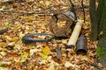 Garbage deposit in the forest on a tree, car tires, metal scrap, components, autumn leaves cover the ground Royalty Free Stock Photo