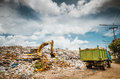 Garbage keeper on big heap under blue sky Royalty Free Stock Photo
