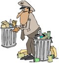 Garbage man this illustration depicts an old time in uniform picking up a can of trash Royalty Free Stock Photo