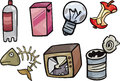Garbage objects cartoon illustration set of or junk clip art Royalty Free Stock Photo