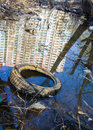 Garbage, old tire and reflection of the high-rise in the water Royalty Free Stock Photo