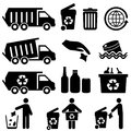 Garbage and recycling icon set Stock Photo