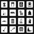 Garbage thing icons set squares vector