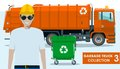 Garbage truck collection. Detailed illustration of garbage man, orange truck and dumpster on white background in flat