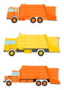 Garbage truck set in retro style on a white background Stock Photos