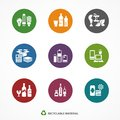 Garbage waste recycling icons round