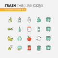 Garbage Waste Recycling Linear Thin Line Icons Set with Trashcans