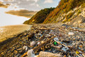 Garbage and wastes on beach Royalty Free Stock Photo