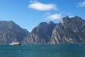 The garda lake lago di garda in italy a ferry and sailboats on Royalty Free Stock Photos