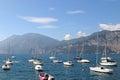 Garda lake lago di garda in italy many sailboats on the Stock Images