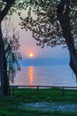 Garda lake sunset at the italy Royalty Free Stock Photo