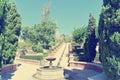 Garden of Alcazaba of Almeria on a sunny day; retro style Royalty Free Stock Photo
