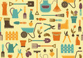 Garden background seamless of tools equipment and symbols Stock Photos