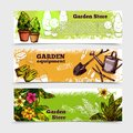 Garden banner set horizontal with sketch seedling equipment isolated vector illustration Stock Images