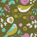 Garden Birds Deco Tile Stock Photo