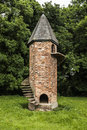 Garden brick folly an unusual built for pet goats with outside staircase Stock Photography