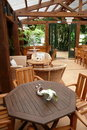 Garden cafe: outdoor dining Stock Photos