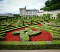 Garden and castle in villandry, loire valley, Royalty Free Stock Photo