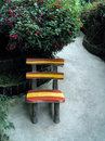 Garden chair on concrete patio Royalty Free Stock Photography