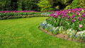 Garden with a Colourful Flowerbed and Grass Lawn Royalty Free Stock Photo