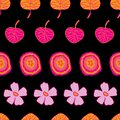 Garden Colours-Flowers in Bloom seamless repeat pattern Background in pink, orange,yellow and black
