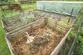 Garden compost bin in a vegetable patch Royalty Free Stock Photo