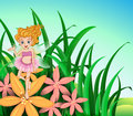 A garden with a cute fairy with a pink dress illustration of Stock Photo