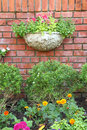 Garden decoration brick wall Royalty Free Stock Photos